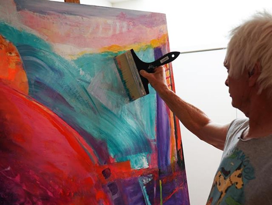 Mixed Media Artist Michael Colpitts working in Primative Studio Space