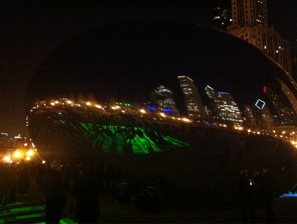 Cloud Gate Light Display Chicago Illinois United States