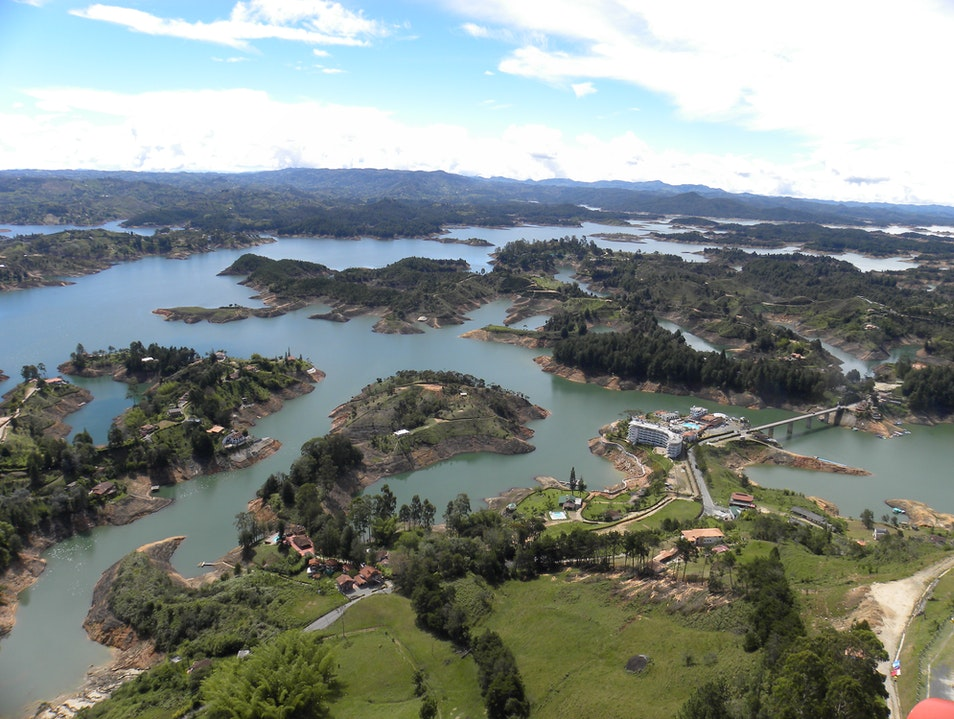 Beautiful view from the top of El Peñol mountain Guatape  Colombia