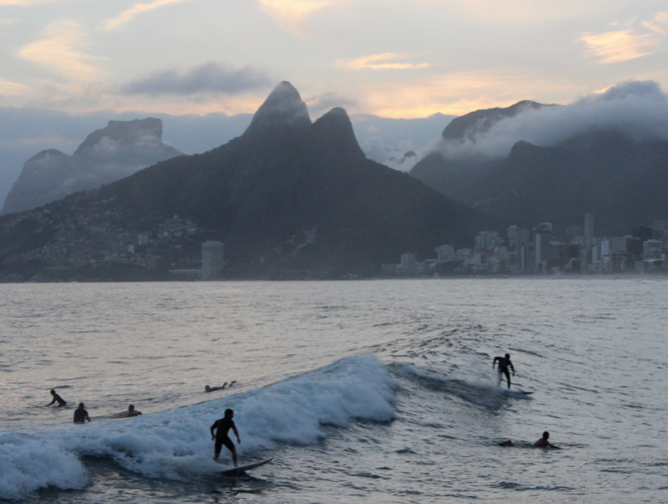 Watching Surfers and Sunsets at Arpoador Rock in Rio de Janeiro, Brazil