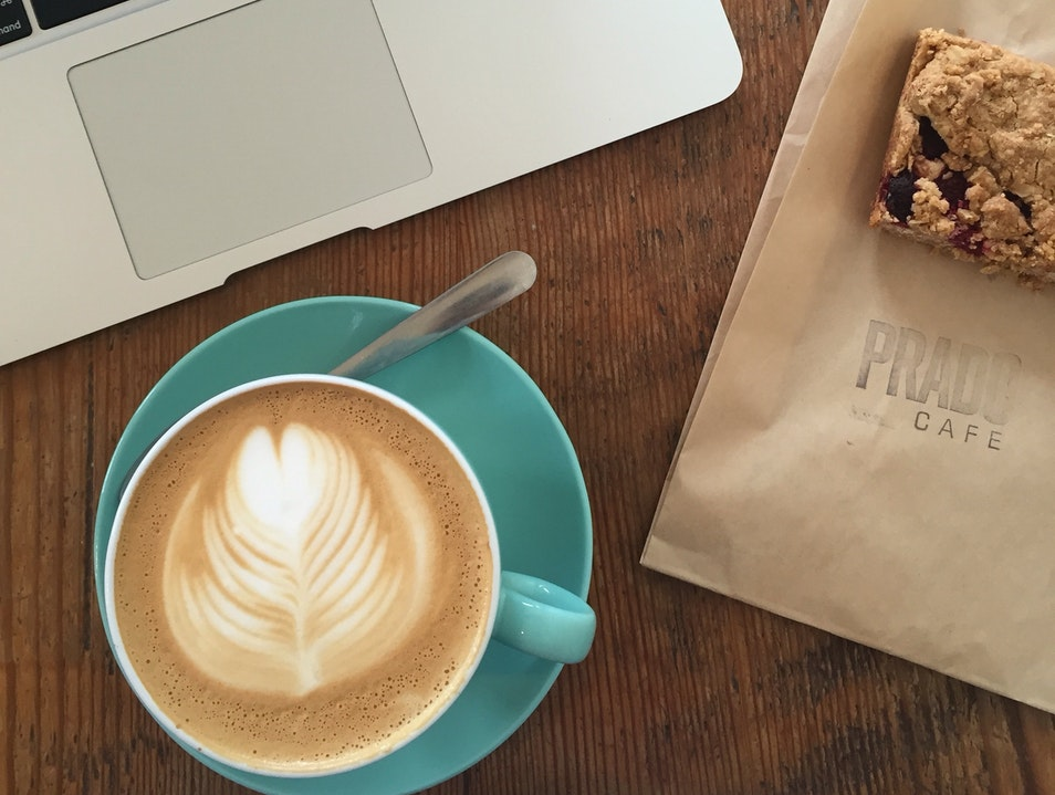 drink coffee, eat raspberry bars, and people watch at prado cafe