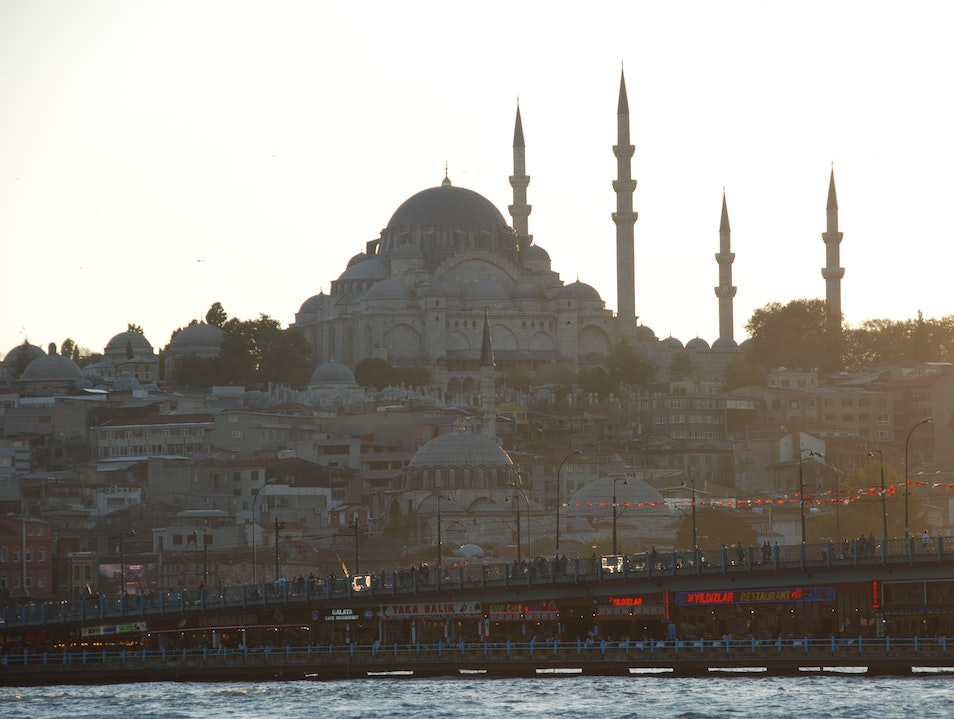Sunset view of Sultanahmet from the Bosphorus Istanbul  Turkey