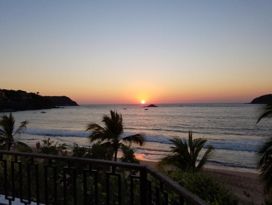 beautiful sunset view from the resort main restaurant Ixtapa  Mexico