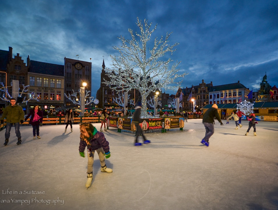 Ice skating fun Bruges  Belgium