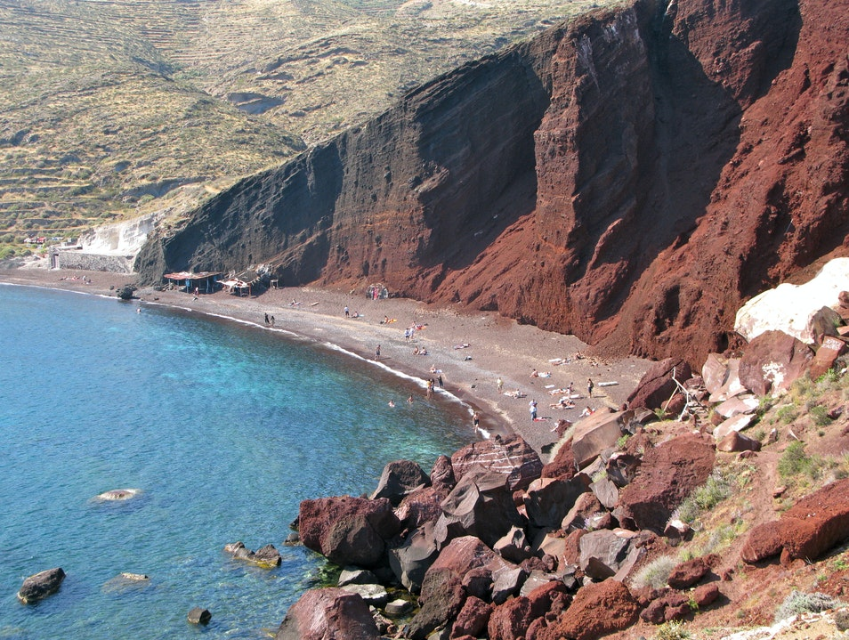 One of the World's Rare Red Beaches Santorini  Greece