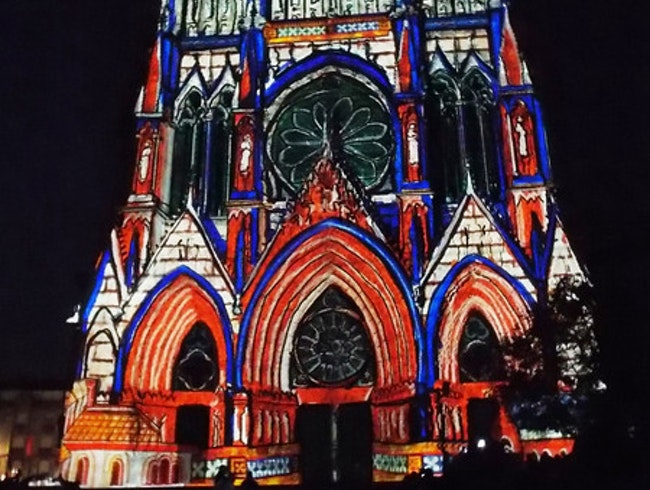 The Reims Cathedral light show