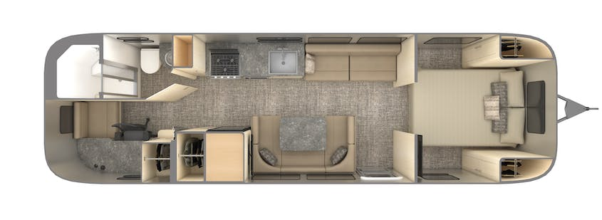 The floor plan of Airstream's Flying Cloud 30FB Office travel trailer