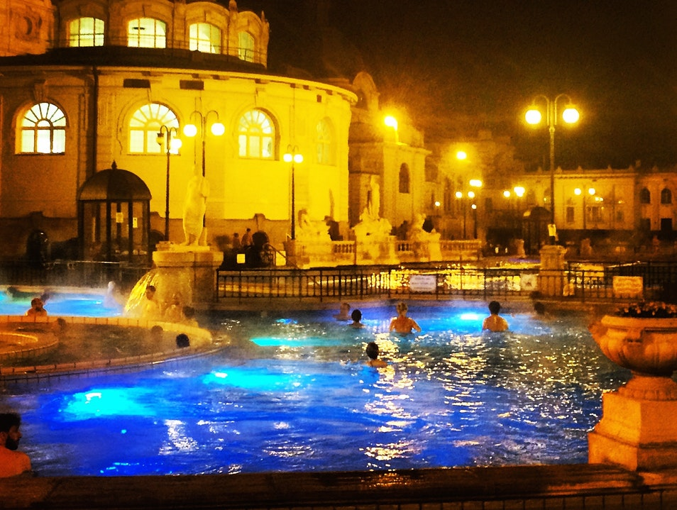 Budapest thermal baths under a crescent moon