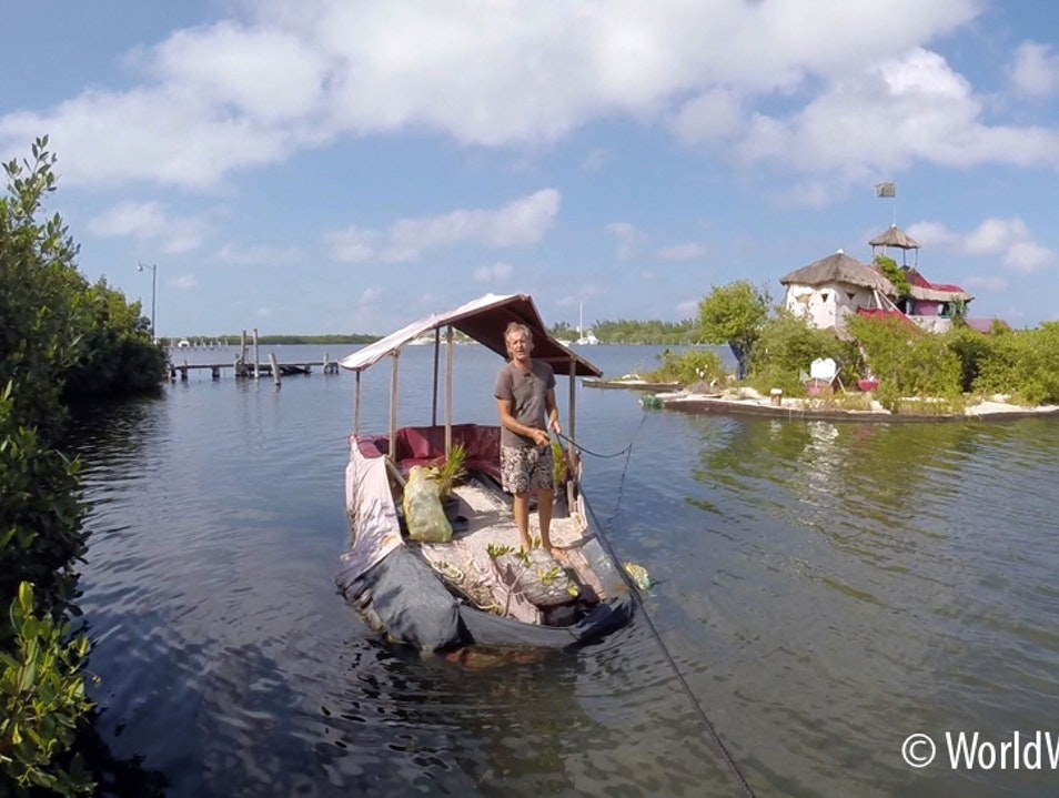 Living on a 'ECO Plastic Bottle Floating Island Isla Mujeres  Mexico