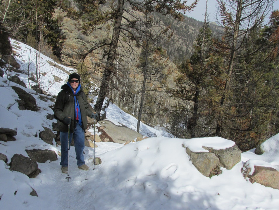 On the trail to Cub Lake in February Estes Park Colorado United States