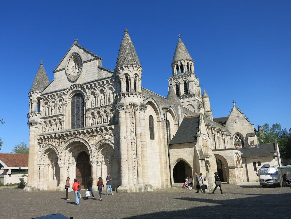 Beautiful carved Romanesque facade Poitiers  France