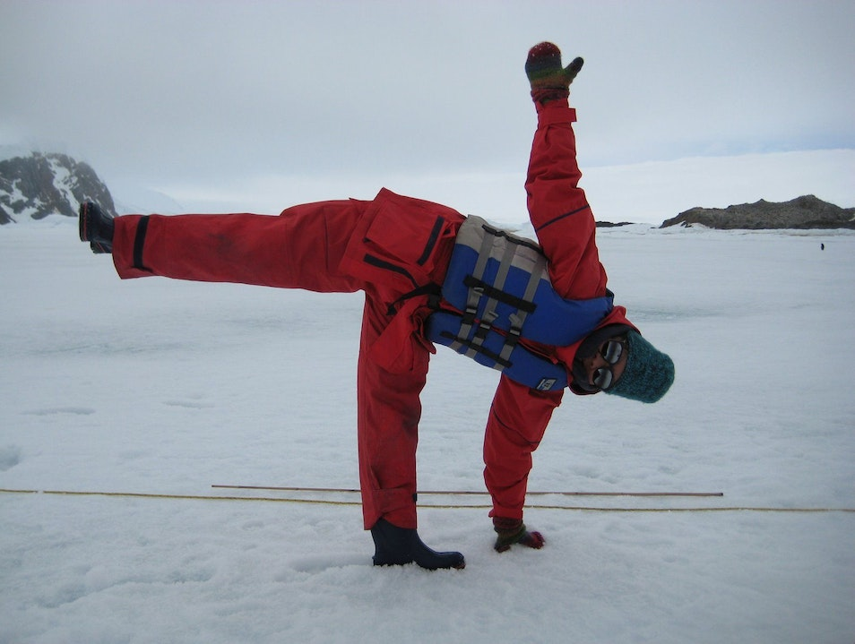 Ardha Chandrasana (Half Moon) on a Full Moon   Antarctica