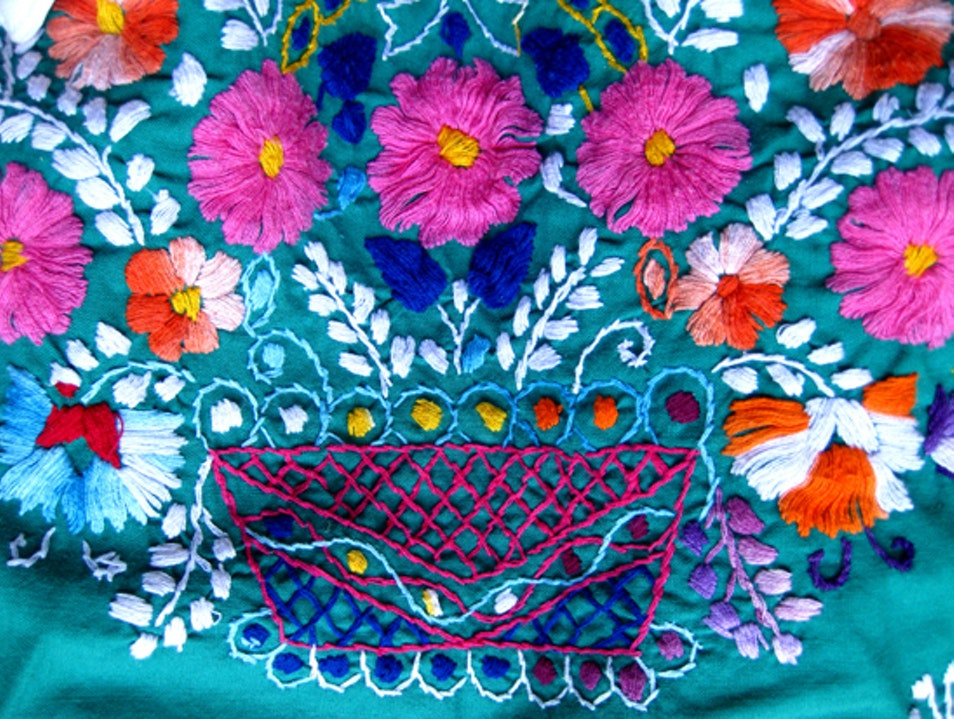 Traditional Mexican Embroidery Cancun  Mexico