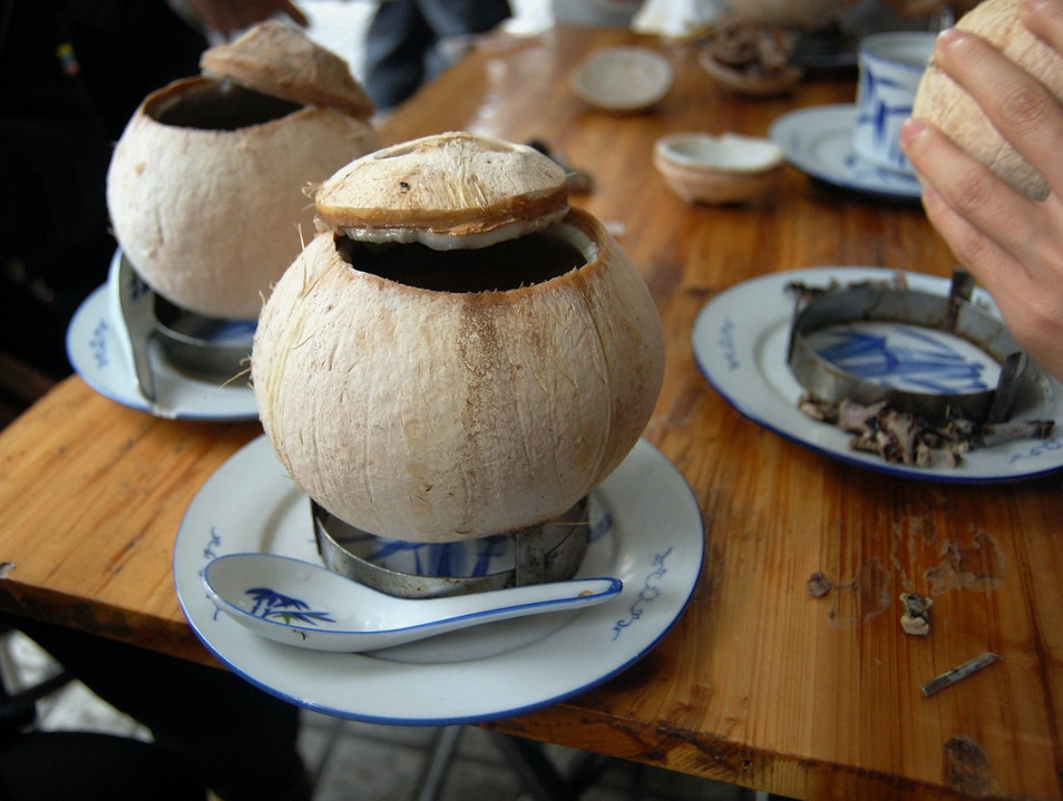 Eat Chicken (or Quail) Cooked in a Coconut Guangzhou  China