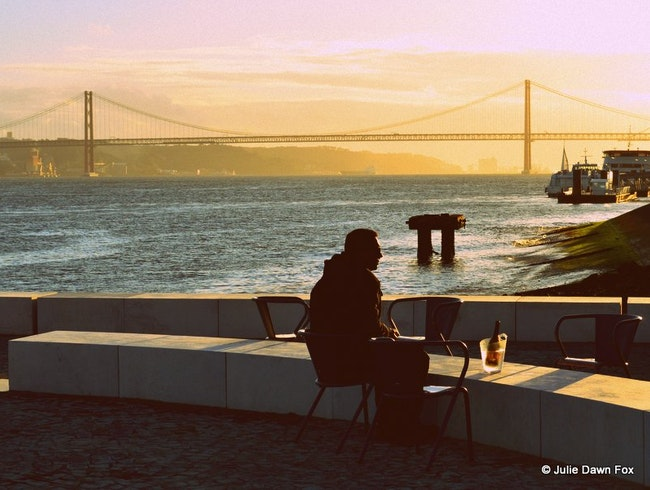 Sundowners at Lisbon's new river beach