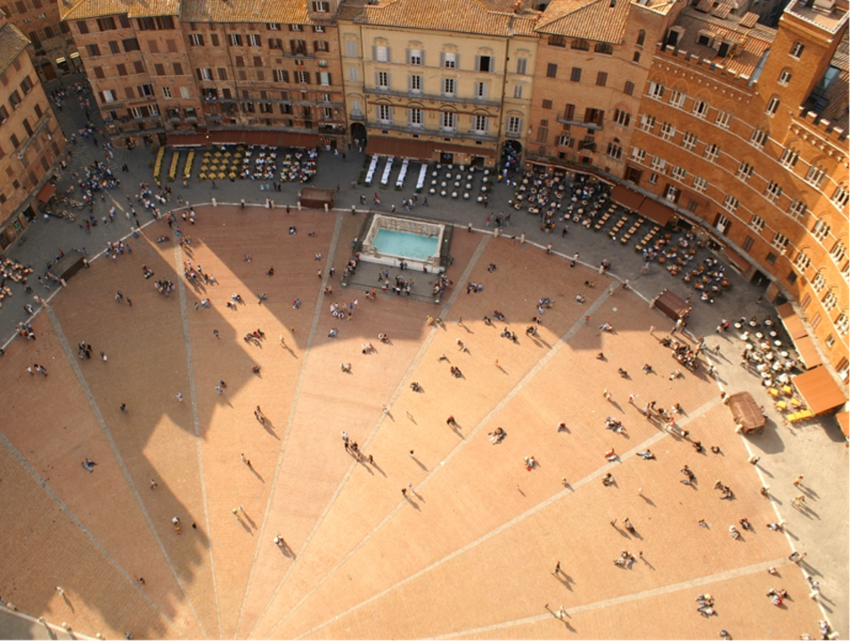 An Aerial View of Siena's Iconic Piazza del Campo