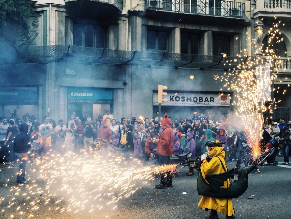 "Correfoc ""fire run"" during La Merce Barcelona  Spain"