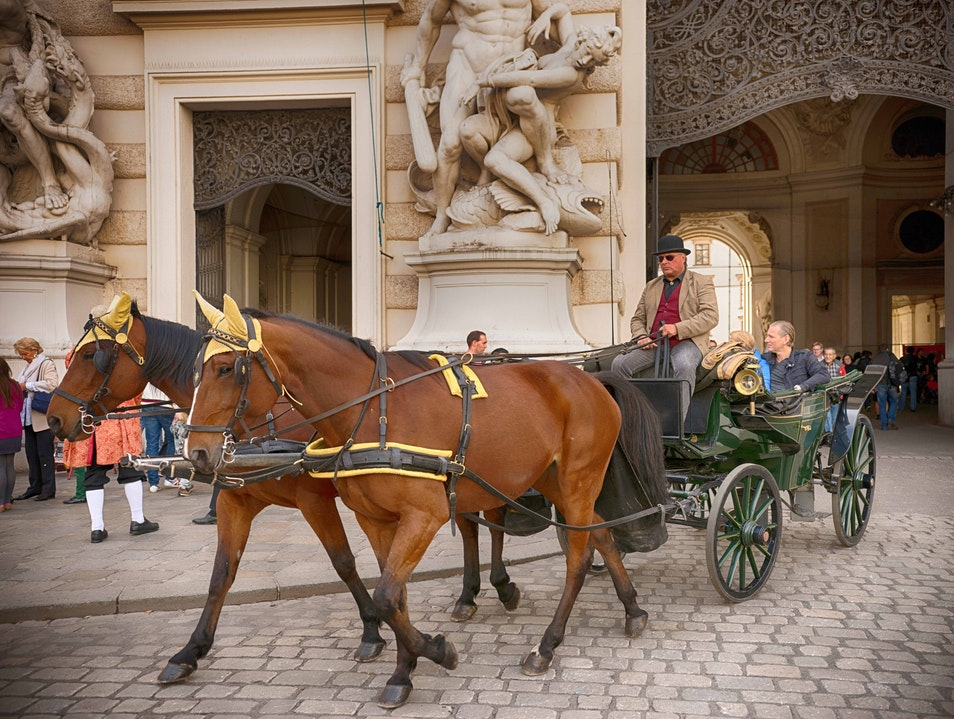 Carriage Ride Through Hofburg Gate Vienna  Austria