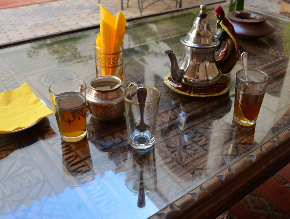 Watch the world go by from the perfect street café Marrakech  Morocco