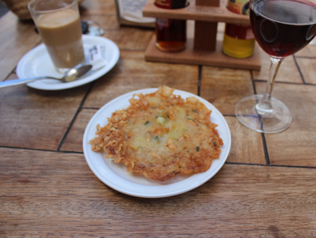 "Local specialty ""tortillita de camarones"" at Bar Peneque, Plaza de España"