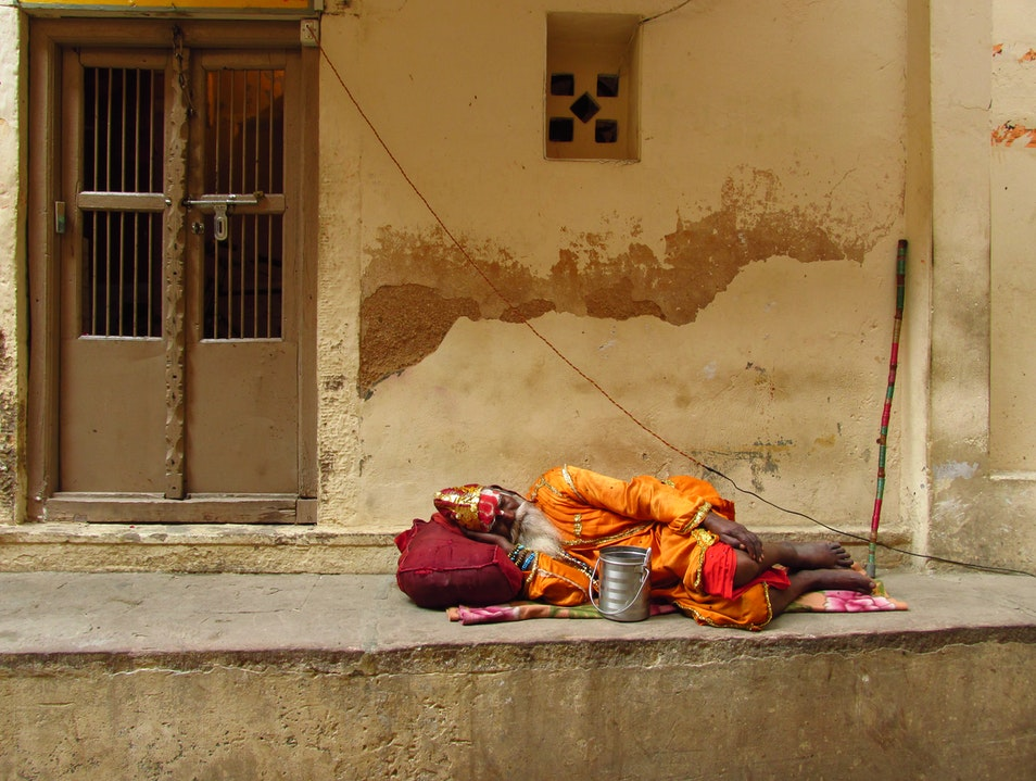 Sleeping Baba Varanasi  India