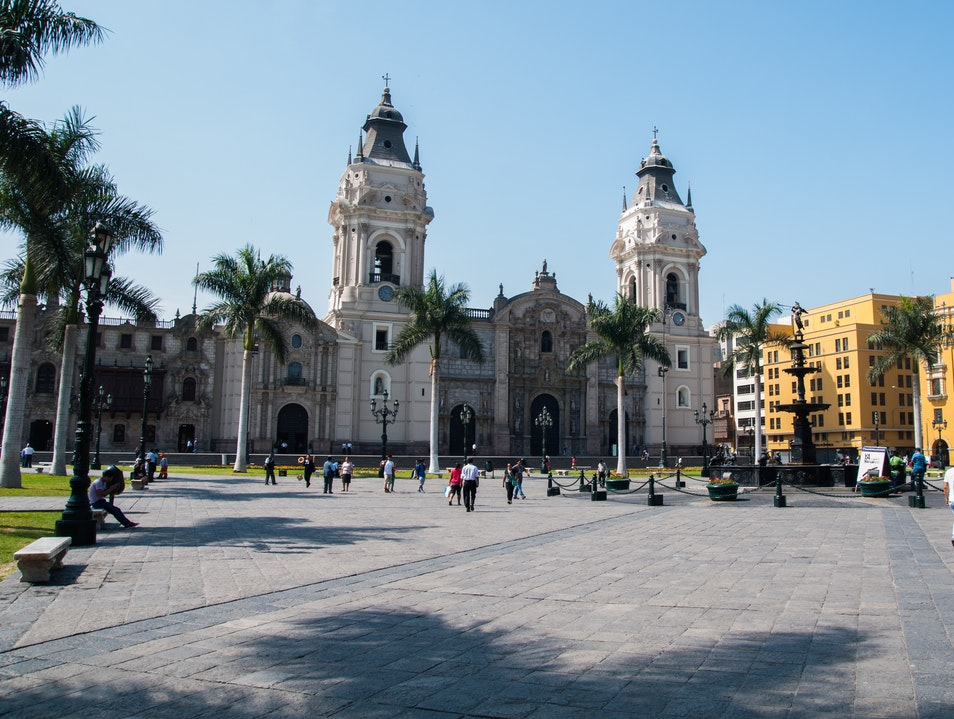 People Watching at the Plaza Lima  Peru