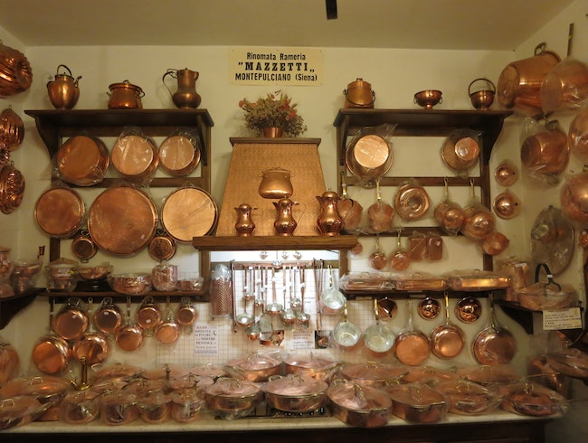 Hand-Crafted Copper Cookware in Tuscany