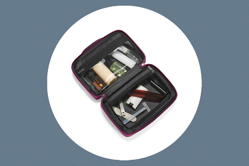 The Small Toiletry Bag is available in Black, Coast, Cherry, Green, and Plum.