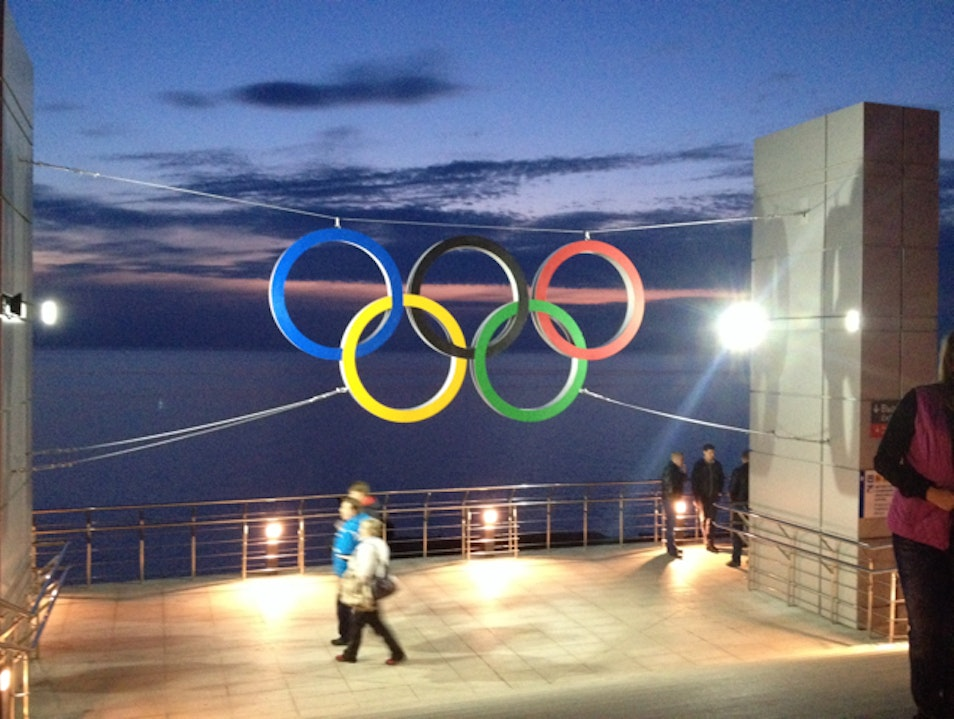 Oly Rings at Adler Train Station Sochi  Russia