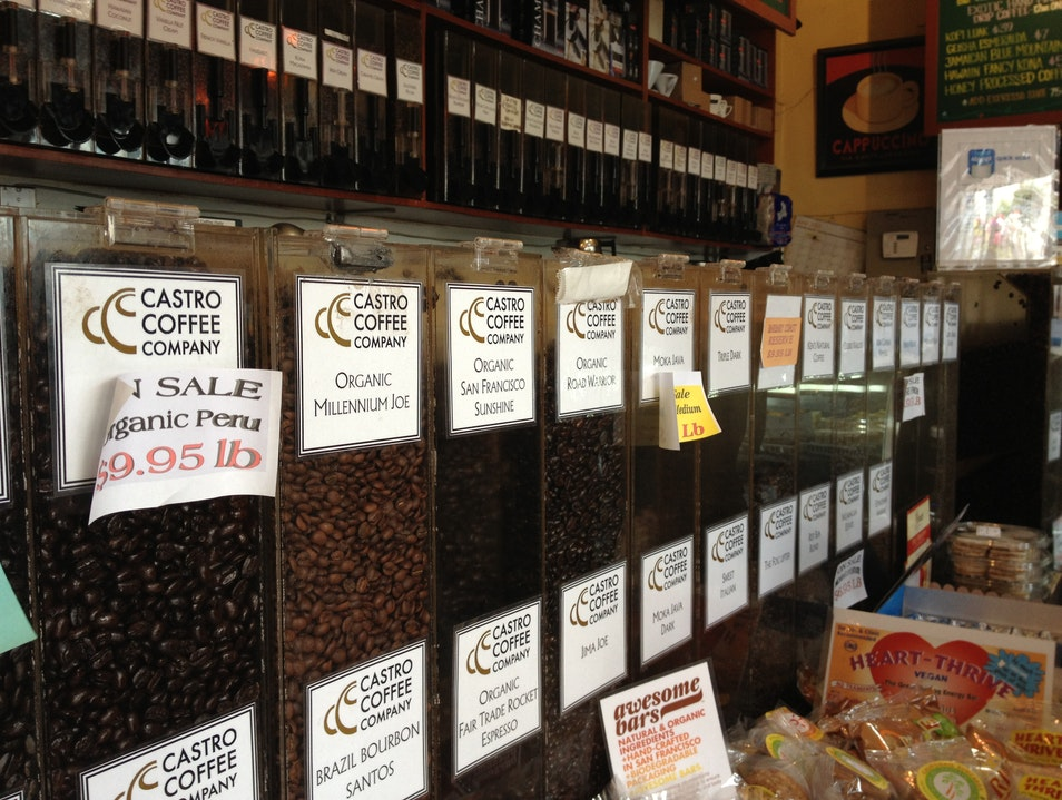 A Wall of Coffee in the Castro