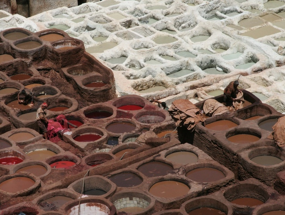 Follow your nose to the Dye Vats in Fes Fes  Morocco