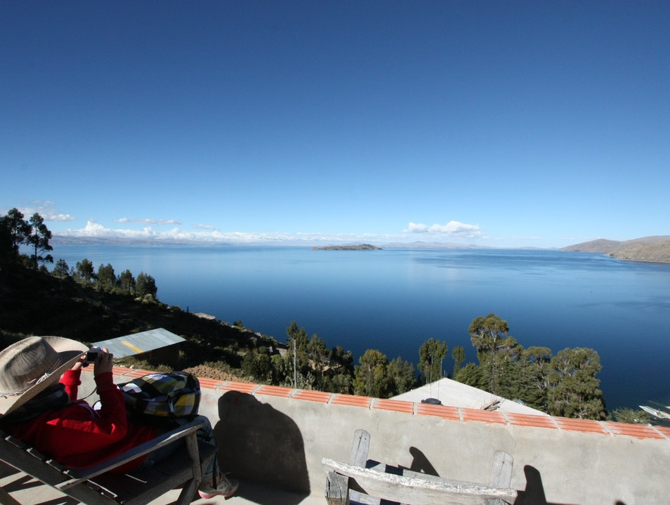 "The highest lake ""Titicaca"" in Bolivia Puno Region  Peru"