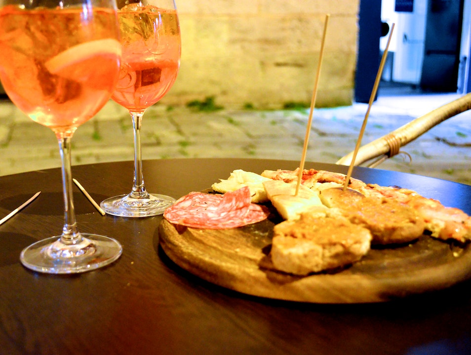 Aperol Spritz in the Doge's courtyard Genoa  Italy