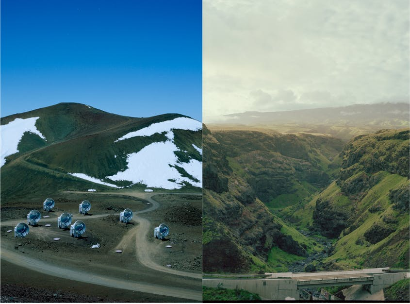 From left: Radio telescopes on the sacred Mauna Kea volcano, where protests aim to prevent an observatory from being built. Right: Kaupō Valley, home to a section of Haleakalā National Park.