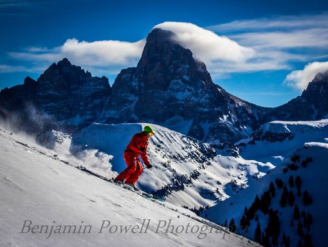 Skiing in Grand Targhee with a view of the Grand Tetons