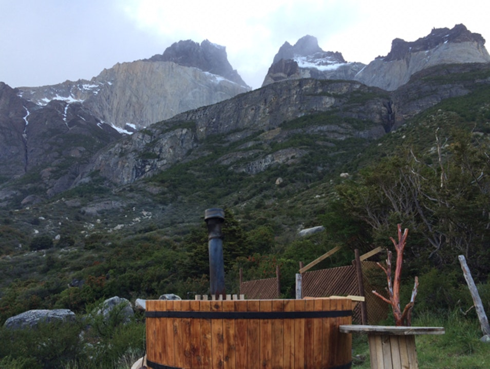 The hot tub at Refugio Cuernos Torres del Paine  Chile