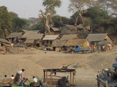 Village on the Irrawaddy near the Tharabar Gate. Myingyan  Myanmar