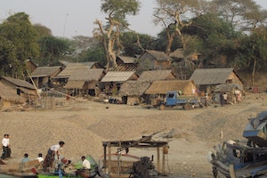 Village on the Irrawaddy near the Tharabar Gate.