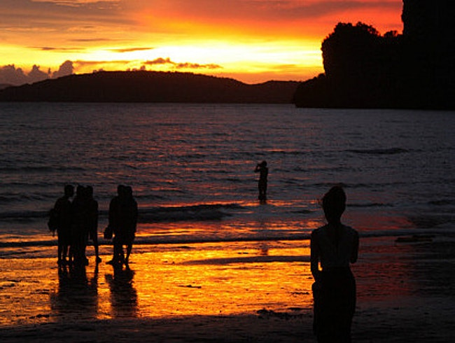 Sunset on Raileh beach, Krabi, Thailand