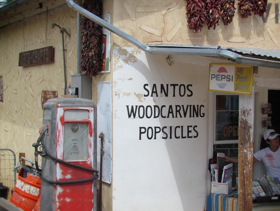 """""""Santos...woodcarving...popsicles"""" and CHILE Chimayo New Mexico United States"""