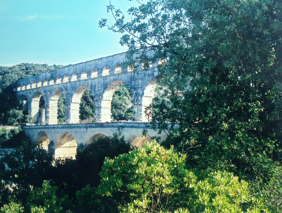 Swimming Under An Ancient Viaduct Vers-Pont-du-Gard  France