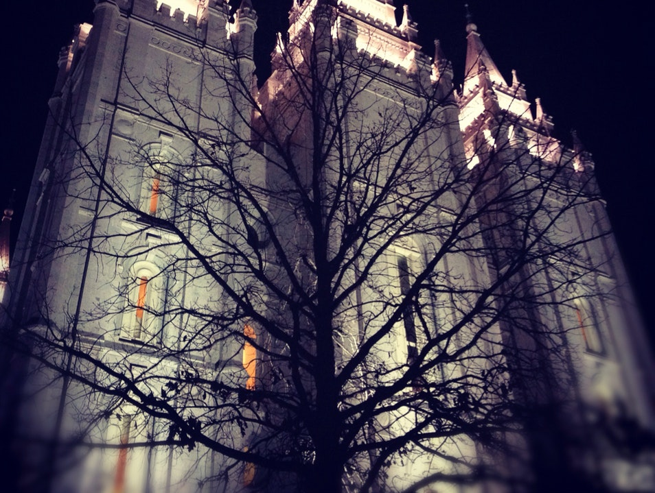 Temple at Night Salt Lake City Utah United States