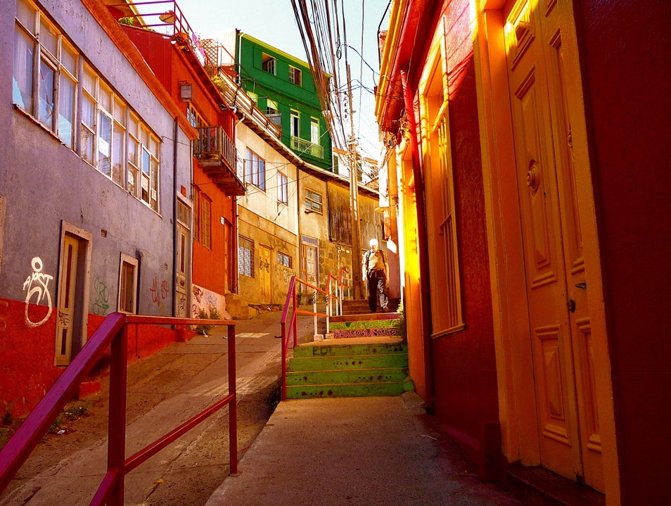 Color fills the city on the bay Valparaiso  Chile