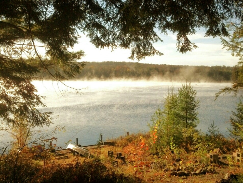Misty, Autumn Morning Canoeing in Otter Lake Forestport New York United States