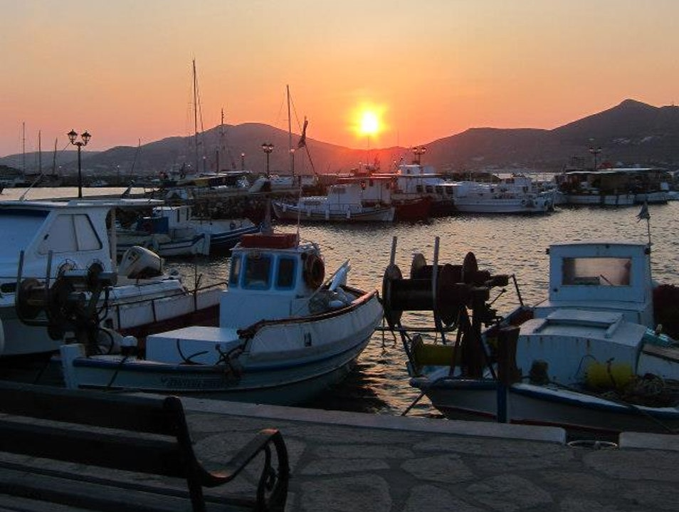 Sunset over the harbor Naousa  Greece