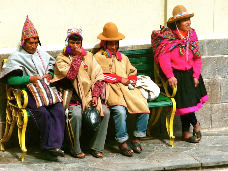 Taking in the tourists on the town square Santuario Historico Machu Picchu  Peru