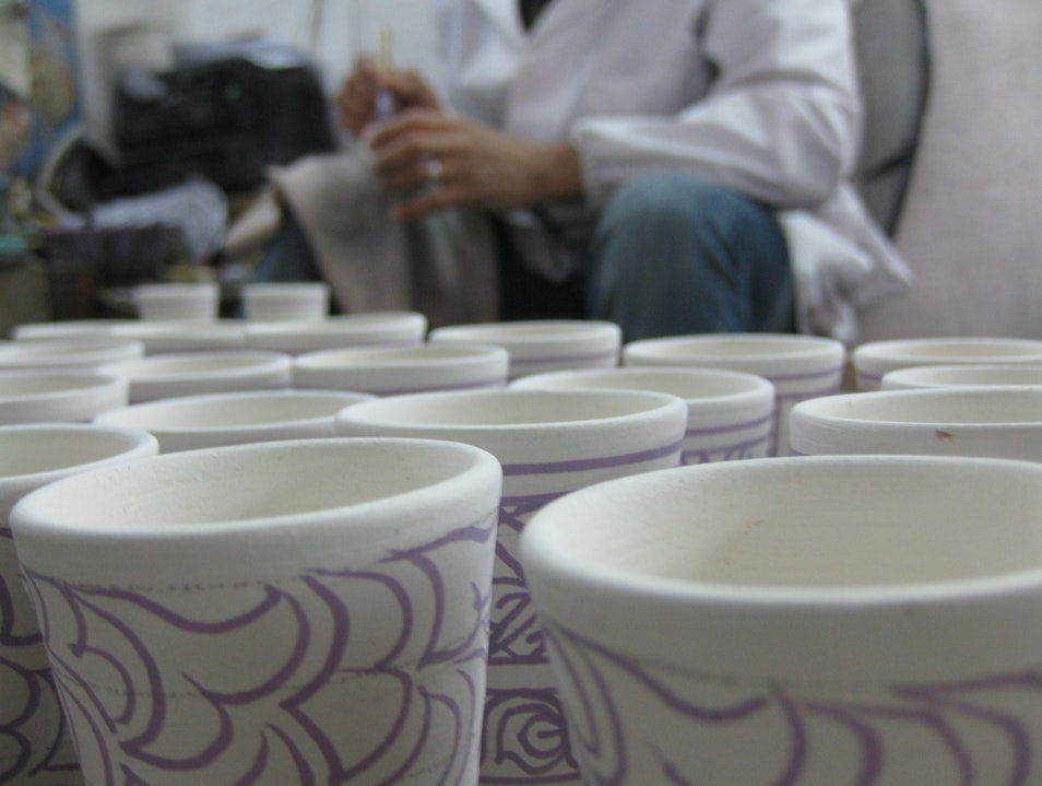 Pottery in Progress: Painting Fes  Morocco