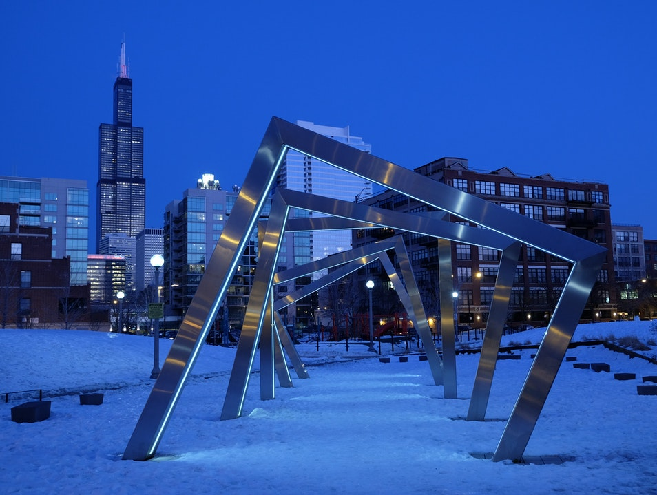 A blue, blue night in Chicago  Chicago Illinois United States