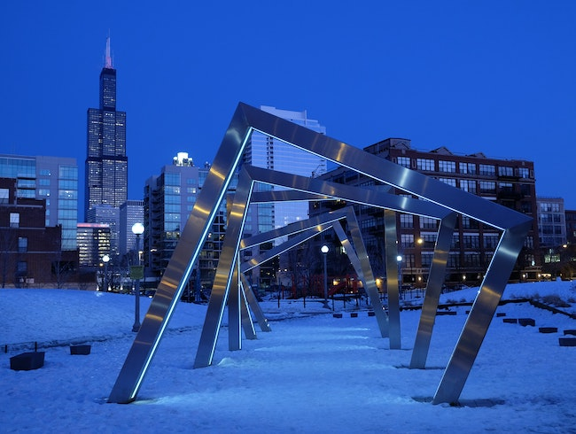 A blue, blue night in Chicago