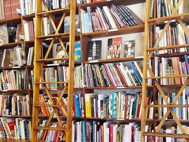 Rolling library ladders & books